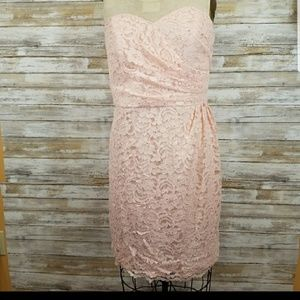 David's Bridal Pink Sweetheart Neckline Lace